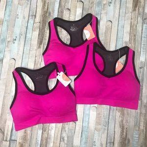 3 new Mirity hot pink sports bra black compression